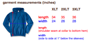 Tall Hoodie Sizes